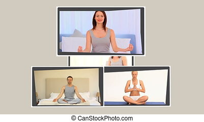 Montage of people practising yoga at home