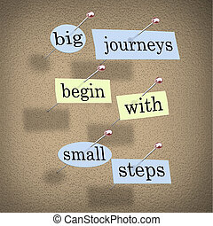 Big Journeys Begin With Small Steps - Pieces of paper each...