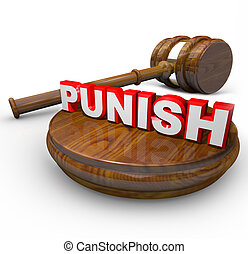 Punish - Judge Gavel and Word for Deciding Punishment - A...