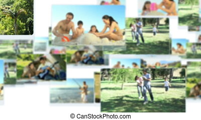 Montage of families spending time together outdoors