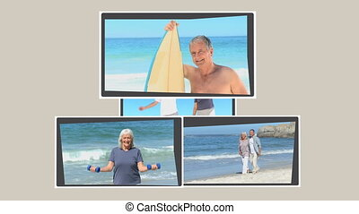 Montage of mature persons relaxing on the beach during their...