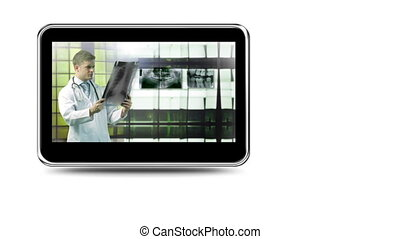 Montage of doctors examining radiog - Montage on mobile...