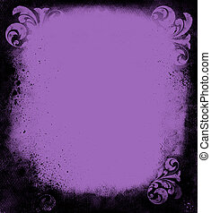 Grunge Lavender Victorian Frame - Black grunge goth frame of...