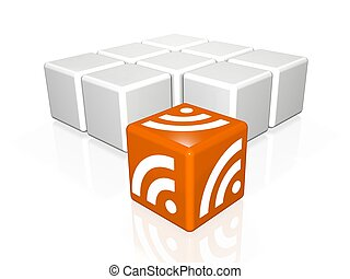 rss - abstract 3d illustration of rss symbol or icon