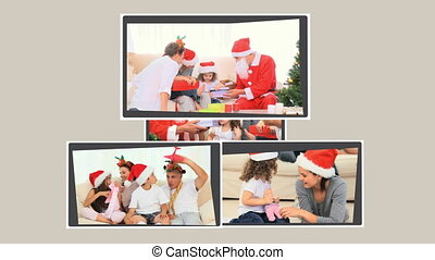 Montage of children opening gifts