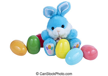 Easter Bunny and Eggs - A blue Easter bunny with plastic...