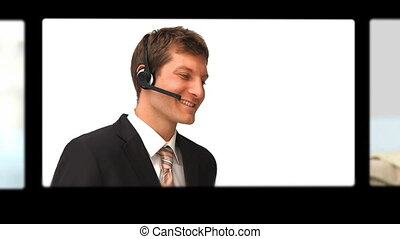 Montage of people talking on the phone with headset