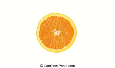 Half orange rotating on a white background