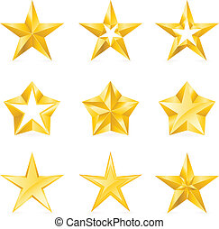 Different types and forms of gold stars. Illustration for...