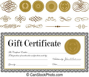 Vector Gold Seal and Certificate Set