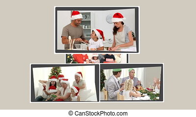 Montage of family celebrating xmas - Montage of families...