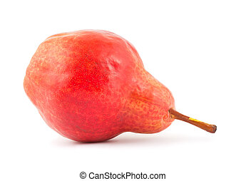 Ripe red pear isolated on white background