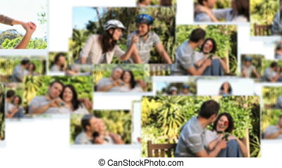 Montage of young couples spending time together in the park