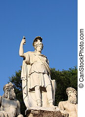 Statue portraying Rome between Tevere and Aniene, Rome Italy...