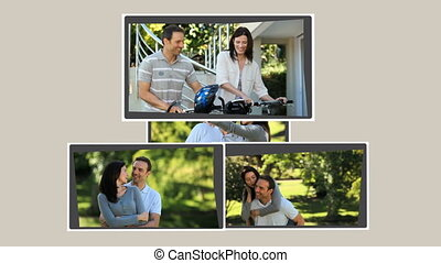 Montage of young couples spending time together outdoors