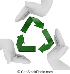 Recycling symbol. 3d render isolated on white