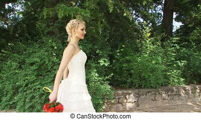 novia, ramo, rojo