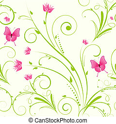 Seamless floral ornament with flowers and butterflies