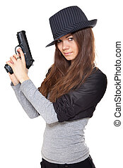 Attractive woman holding a gun