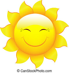 Cartoon Sun Characters, Isolated On White Background, Vector...