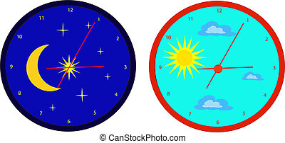 Pair of clocks symbolizing day and night