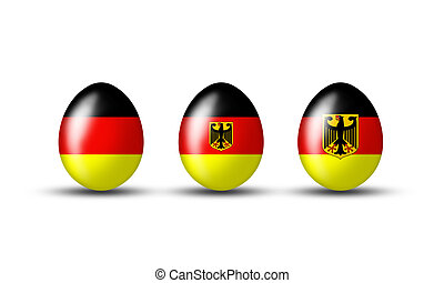 Kollektion deutscher Eier - Easter eggs with a German flag...