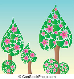 Spring or summer background with meadow, trees and flowers, vector illustration