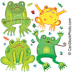 Funny vector set of cute frogs isolated on white