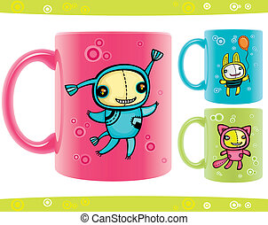 cups with funny beasts drawings