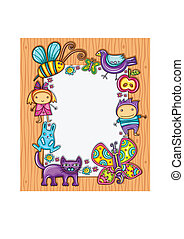 Children cimposition - Lovely spring composition on wooden...