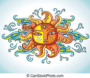 Sun symbol Vector illustration - Cute female cartoon summer...