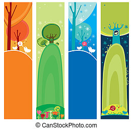 Seasonal, natural banners - Colorful set of seasonal,...
