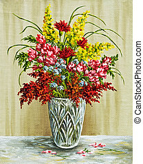 Bouquet in a crystal vase - Picture oil paints on a canvas:...