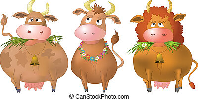 Cows, set - Three thick kind cows eat a green grass,...