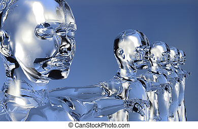 3d Men digital era concept - Glassy 3d cyber men in...