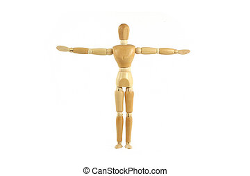Wooden manikin arms spread out - A Wooden manikin arms...