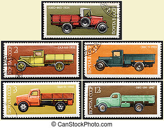 Stamps old Russian truck, set - USSR - CIRCA 1973-1976: A...