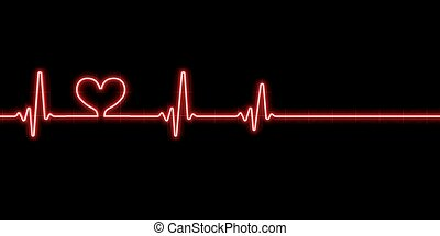 Heartbeat with heart symbol isolated on black backgound