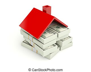 Home with money isolated on white
