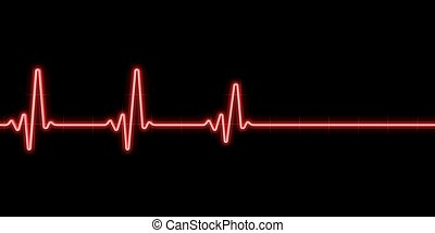 Heartbeat on black background
