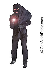 robber with flashlight and sack