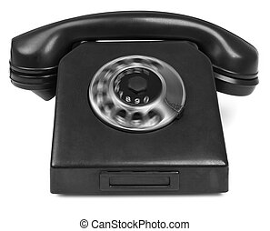old bakelite telephone with spining dial on white background