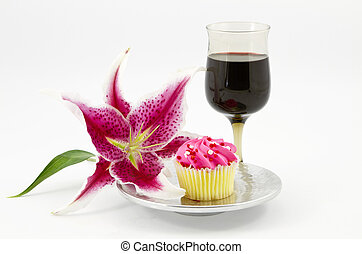 Gracious Break with Cupcake and Wine - Elegant lily is...