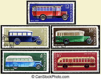 Stamps old Russian bus, set - USSR - CIRCA 1973-1976: A...
