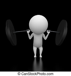 little guy lifting weights - 3d rendered illustration of a...