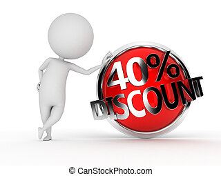 guy with a discount sign - 3d rendered illustration of a guy...