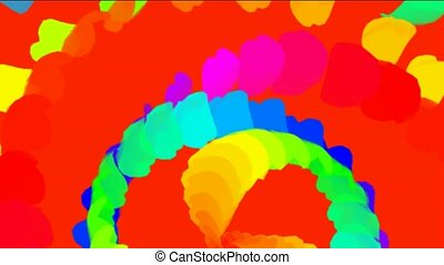 rotation color feathers and paper debris shaped ribbon...
