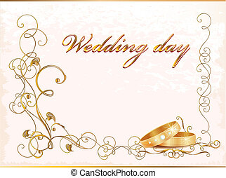 Vintage wedding card with rings.