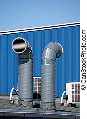 Pipes of ventilation - Fresh air moves to facilities on...