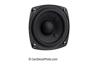 Speaker - small black speaker  isolated on white background